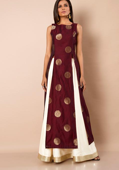 Oxblood Foil Print Silk Slit Tunic