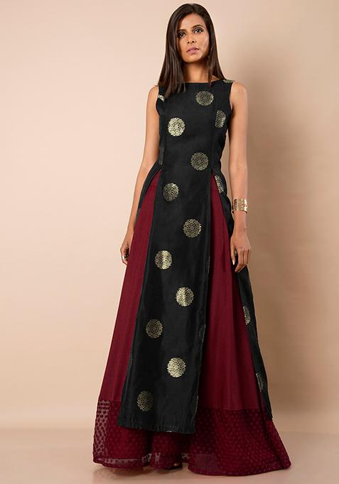 Black Foil Print Silk Slit Tunic