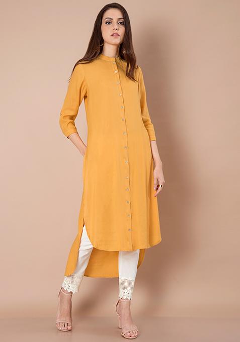 Maxi High Low Shirt Tunic - Yellow