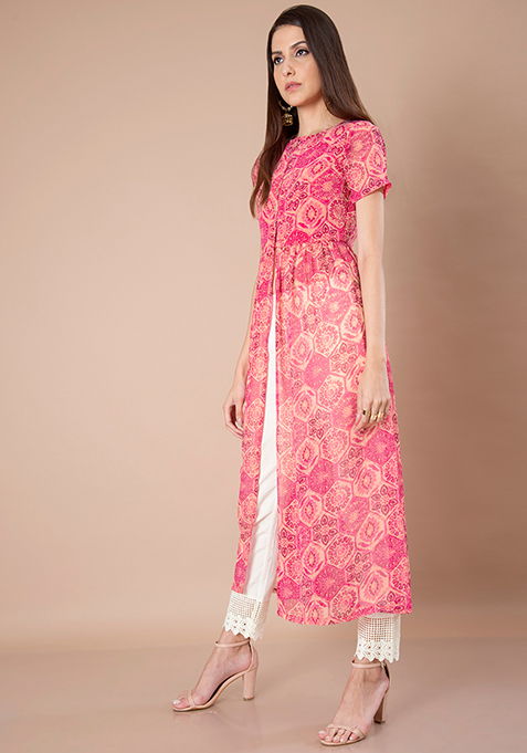 Pink Abstract Georgette Maxi Tunic
