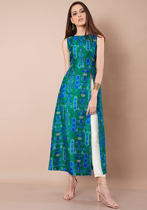 Peacock Hue Silk Slit Maxi Top