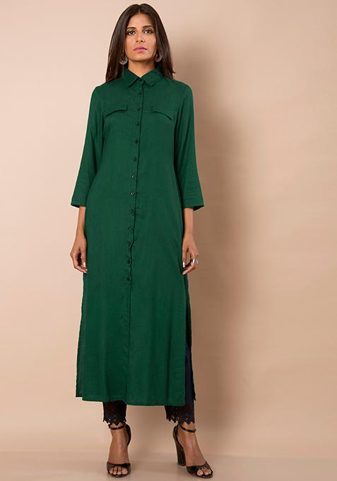Pocket Flap Shirt Maxi Tunic - Dark Green