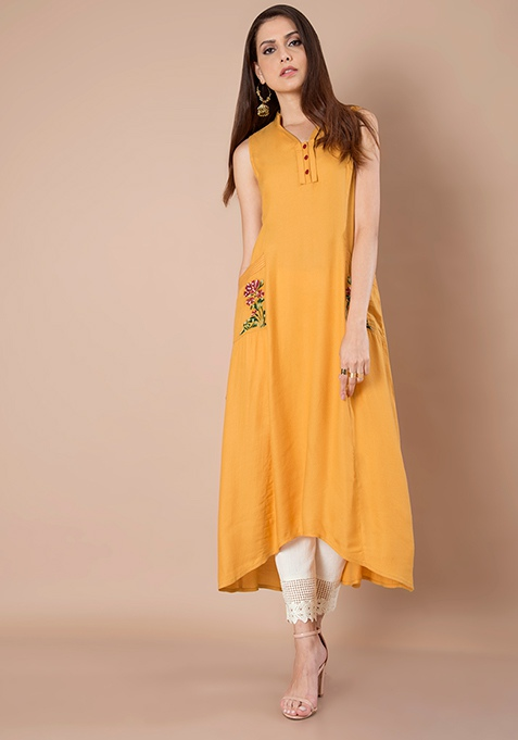 Embroidered High Low Tunic - Mustard