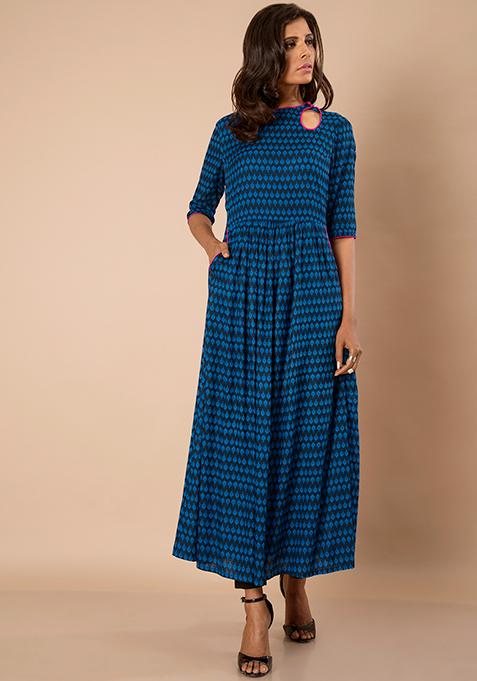 Peek-a-boo Maxi tunic - Blue Print