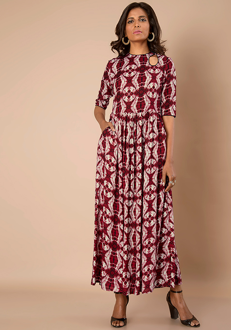 Peek-a-boo Maxi tunic - Red Tie Dye