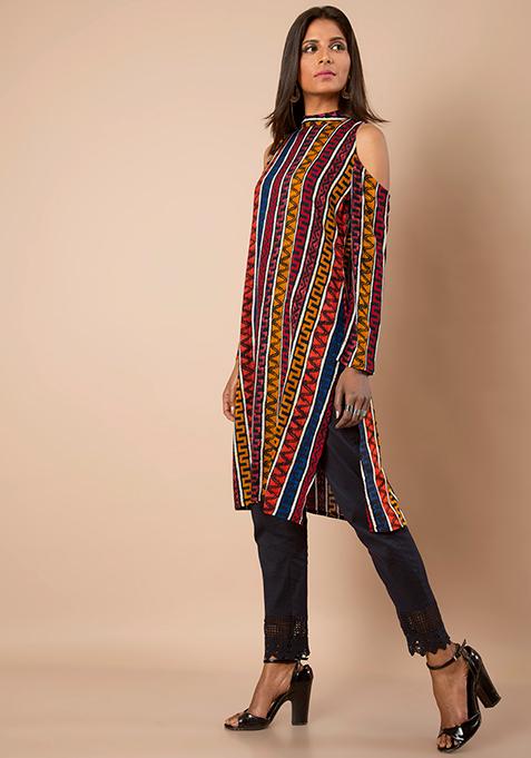 Cold Shoulder Tunic - Multicolour Stripes