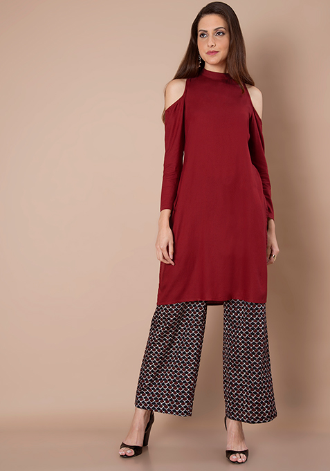Cold Shoulder Tunic - Oxblood