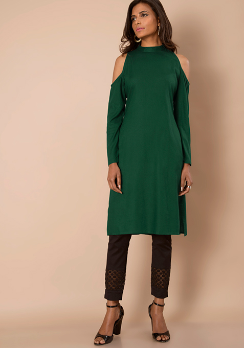 Cold Shoulder Tunic - Dark Green