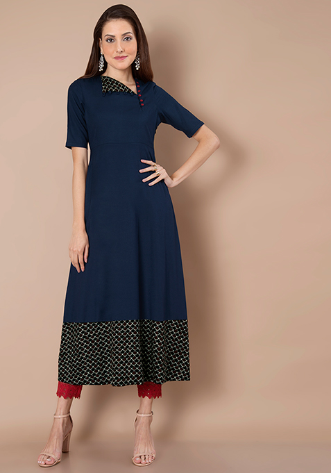 Navy Flap Collar Maxi Tunic