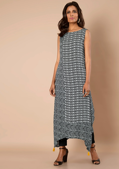 High Low Maxi Tunic - Black Abstract