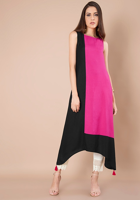 Colorblock Maxi Tunic - Pink Black