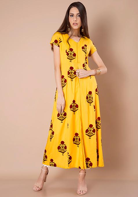 Yellow Floral Maxi Jacket