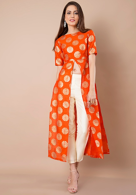 Foil Print Maxi Tunic - Orange