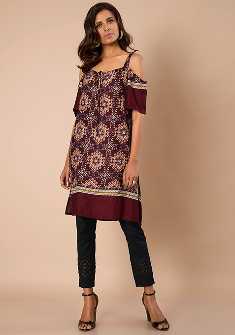 Strappy Cold Shoulder Tunic - Oxblood