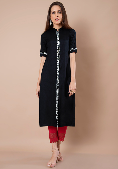 Printed Placket Shirt Tunic - Black
