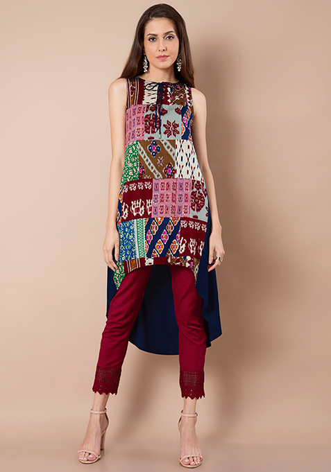 Tie-Up High Low Tunic - Red Mosaic