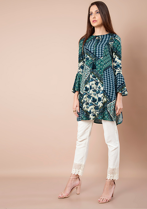 Bell Sleeves Tunic - Blue Green