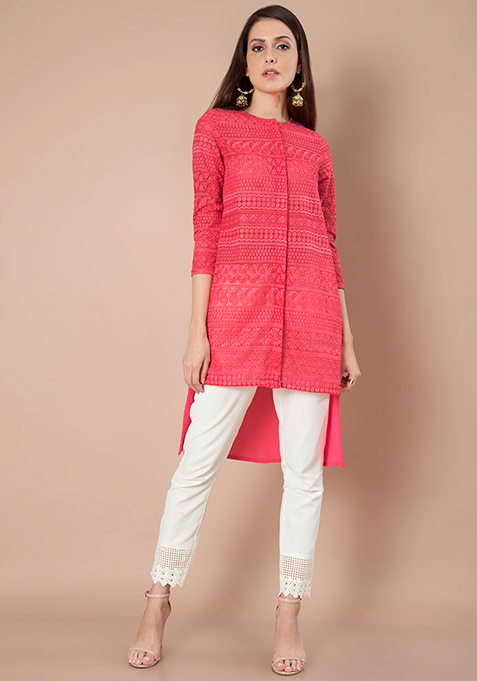 Embroidered Georgette Tunic - Coral