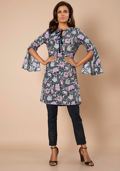 Slit Bell Sleeves Tunic - Floral