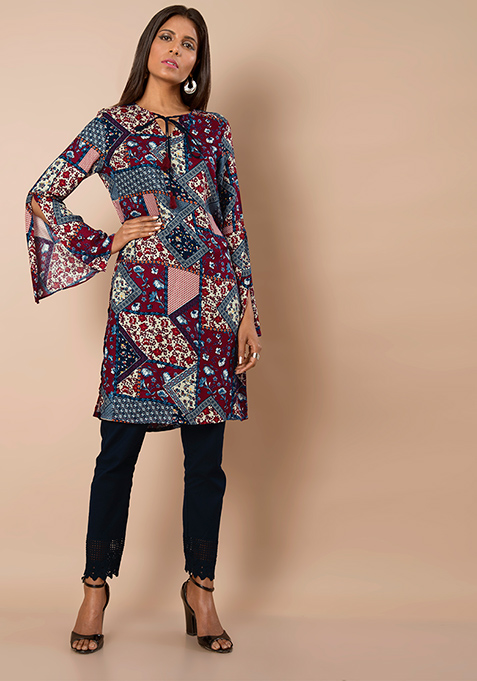 Slit Bell Sleeves Tunic - Patch Print
