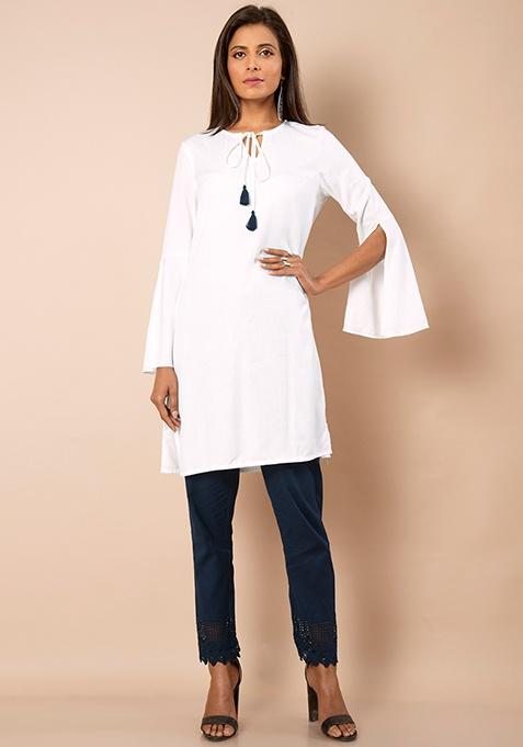 Slit Bell Sleeves Tunic - Off White