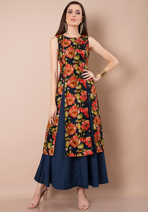 Silk Lush Tunic - Navy Floral