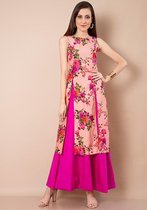 Slit Silk Lush Tunic - Pink Floral