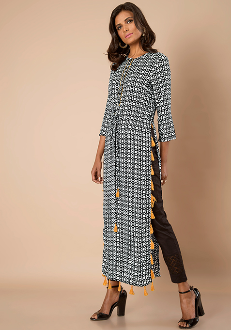 Geometric Tasseled Maxi Tunic