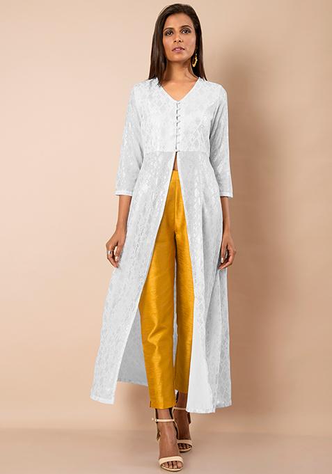 Foil Print Maxi Tunic - White