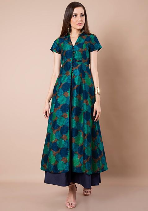 Teal Floral Silk Maxi Jacket