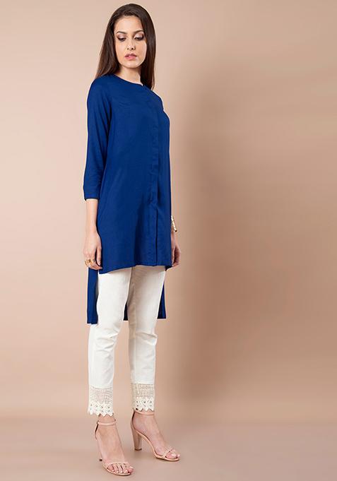 High Low Shirt Tunic - Cobalt Blue