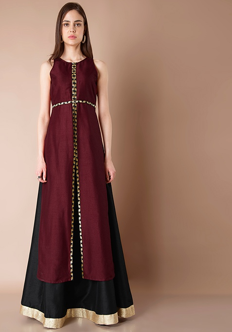 Lace Insert Silk Maxi Tunic - Oxblood