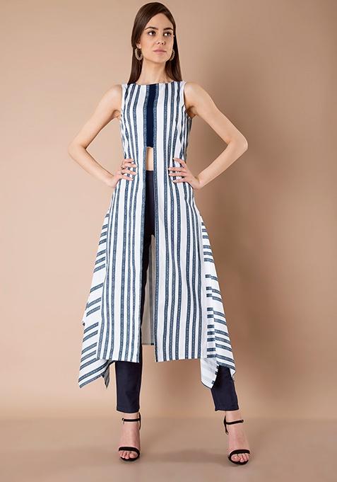 Boxy Front Slit Tunic - Blue Stripes