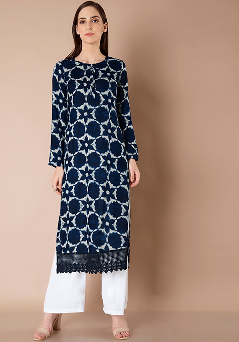Lace Border Tunic - Navy Tie And Dye