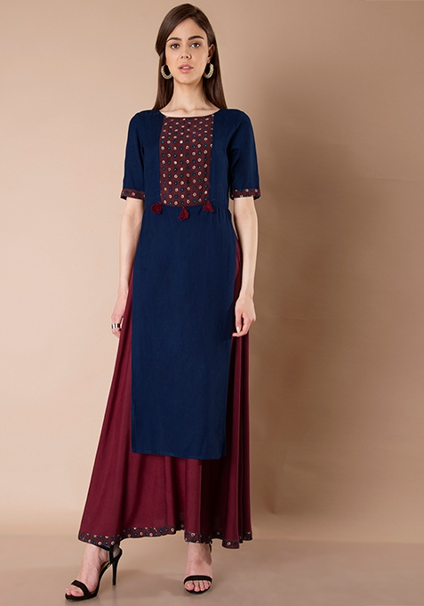 Double Layer Maxi Tunic - Oxblood Navy