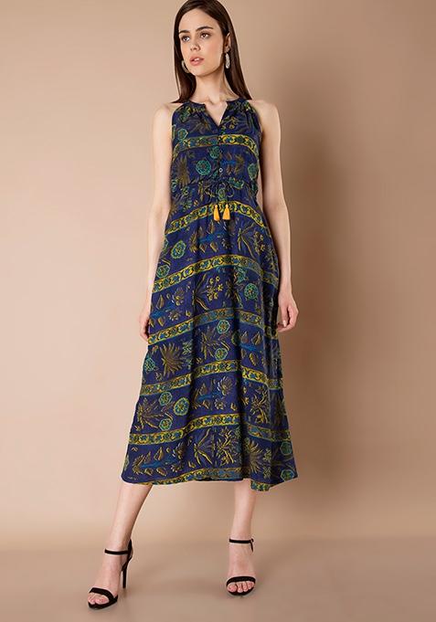 Midi Dress - Blue Mustard