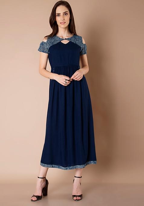 Cold Shoulder Maxi Dress - Navy