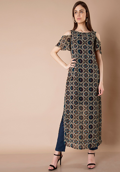 Georgette Cold Shoulder Maxi Tunic - Navy Floral