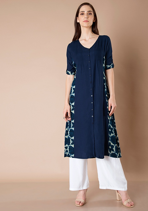 Panelled Shirt Tunic - Navy