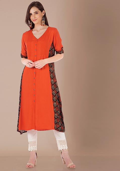 Panelled Shirt Tunic - Orange