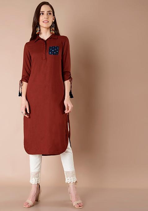 Drawstring Sleeves Shirt Tunic - Rust