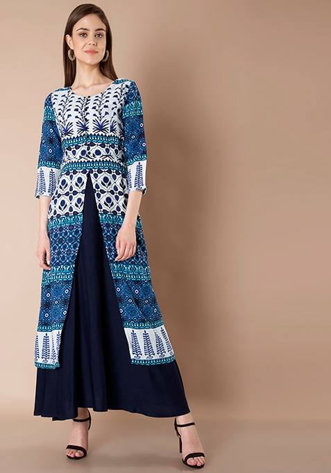 Double Layer Front Slit Maxi Tunic - Navy