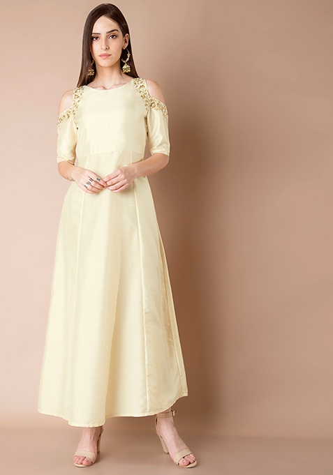 Embroidered Cold Shoulder Maxi Tunic - Ivory