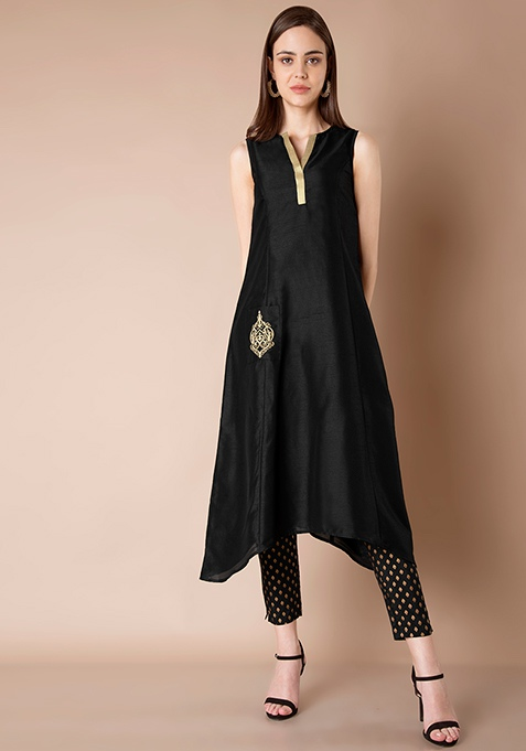Embroidered Pocket Silk Tunic - Black