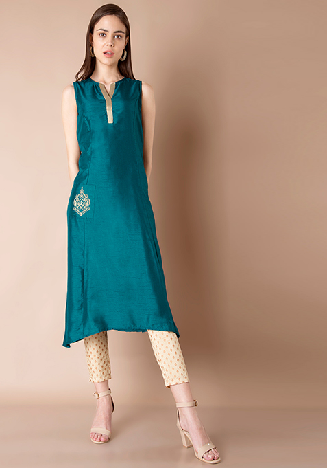 Embroidered Pocket Silk Tunic - Teal
