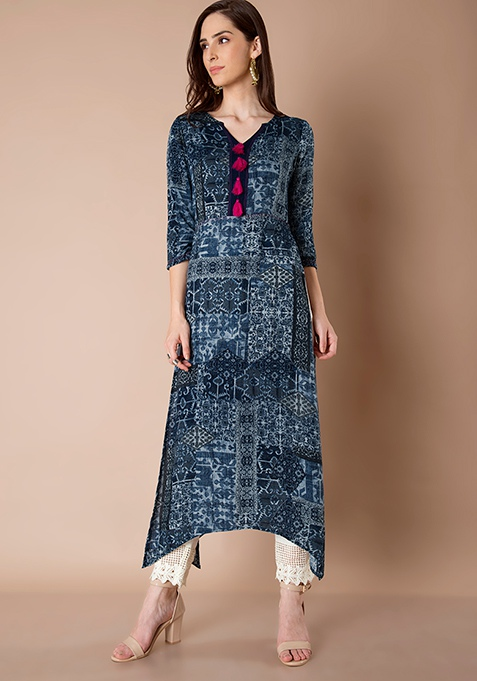 High Side Slit Tunic - Blue Aztec