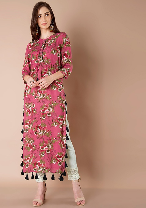 Coral Floral Tasseled Maxi Tunic