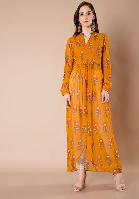 Sheer Maxi Tunic - Mustard Print