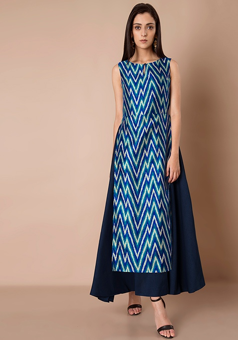 Double Layer Silk Maxi Tunic - Blue Aztec