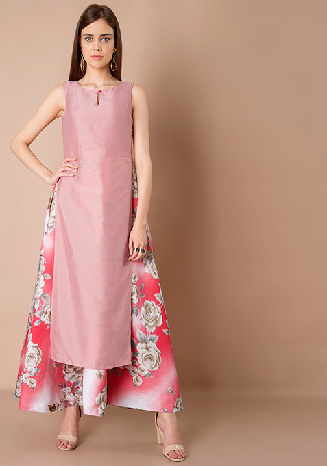 Double Layer Silk Maxi Tunic - Pink Floral